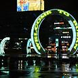 釜山駅前モニュメント 夜のネオン